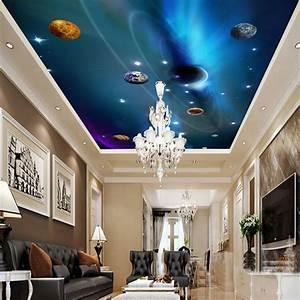 Custom 3D Ceiling Wallpaper Mural Space Solar System ...