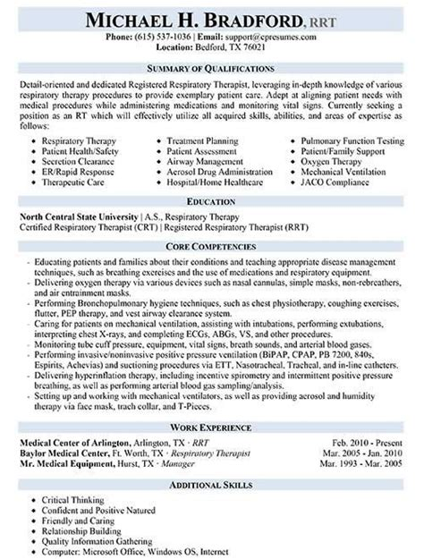 respiratory therapist resume sample respiratory