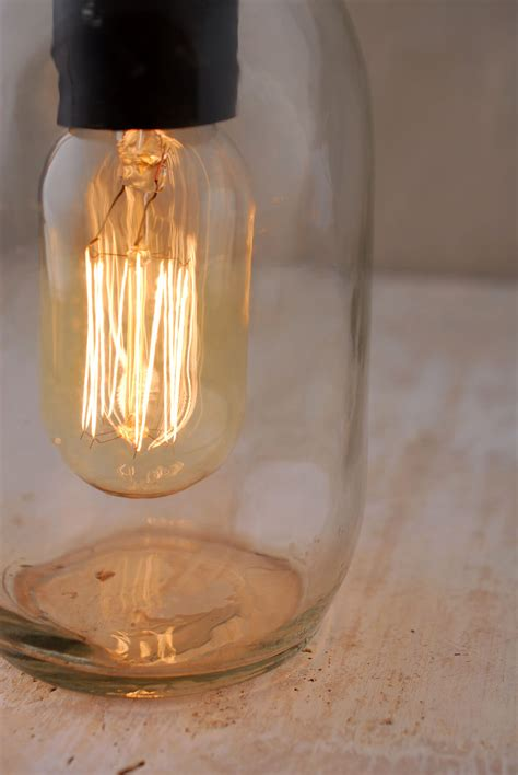 gerson electric lighted clear mason jar  antique light