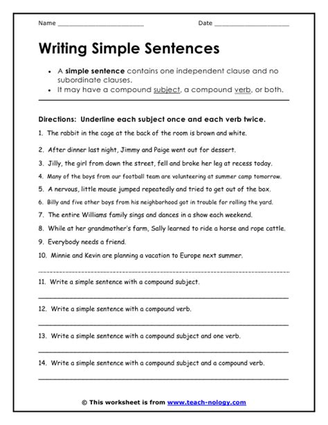 Writing Simple Sentences Kindergarten Worksheets  Free Preschool Kindergarten Sight Words