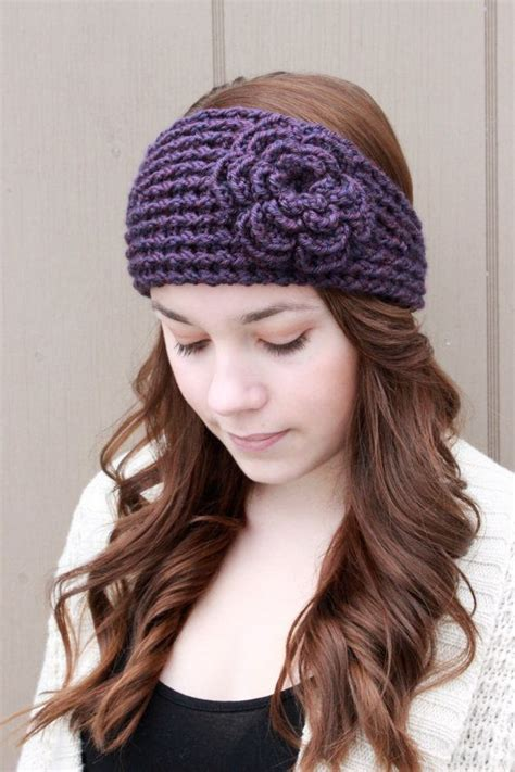 Woman With Flower Knit Headband Pattern