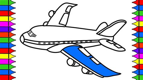 draw airplane coloring pages kids learn drawing