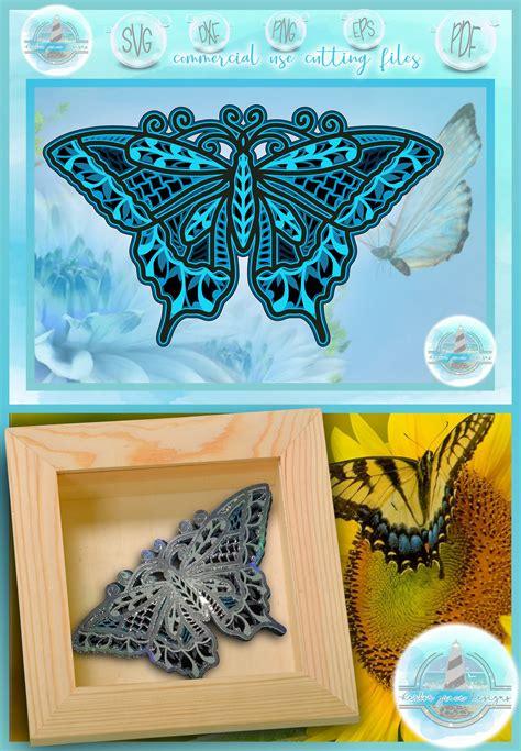 3d Svg Layered Design 3d Butterfly Mandala 3d Mandala
