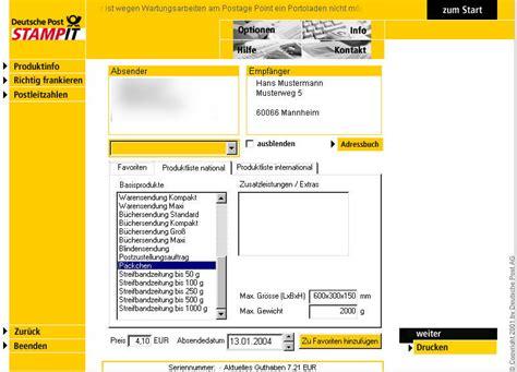 Onlineporto Mit Der Internetmarke Der Deutschen Post