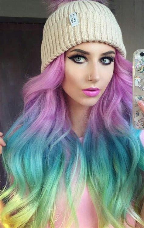 Rainbow Dyed Hair Color Colorful Hair Beautiful Hair