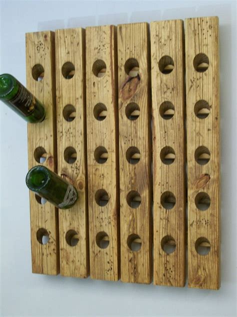 large riddling wine rack distressed wood handmade wall