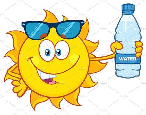 Cute Sun Holding A Water Bottle