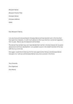 format formal letter resignation resume for job application moving canada | Format | Pinterest