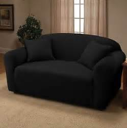 black jersey loveseat stretch slipcover couch cover