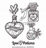 Magic Potions Potion Vector Tattoo Bottles Bottle Hand Drawn Coloring Illustration Doodle Draw Elegant Sketch Drawing Drawings Pages Elixir Template sketch template