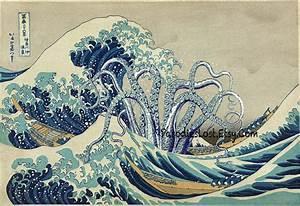 TENTACLES Print HOKUSAI Great WAVE Off Kanagawa Cthulhu Squid