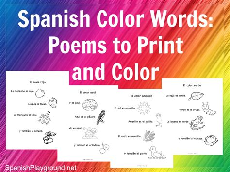 spanish color words rhymes  print  color spanish
