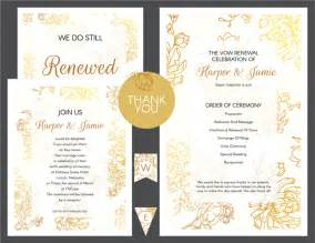 diy wedding ceremony program free gold floral vow renewal invitation