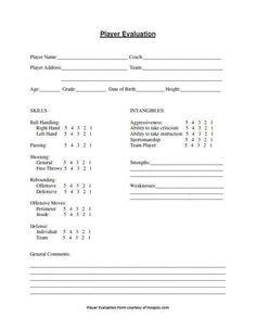 image result  basketball player evaluation template