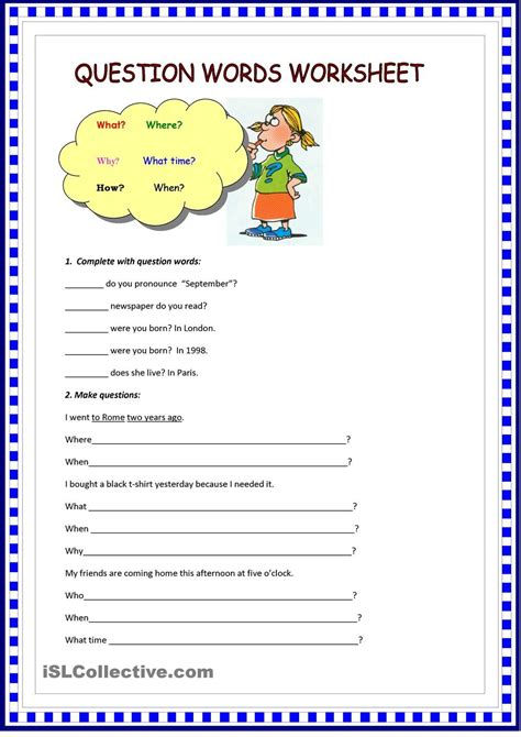 question words worksheet teaching 2nd grade