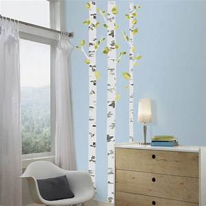 Roommates 5 in x 19 in birch trees peel and stick giant for White birch tree wall decal decorations