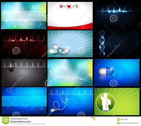 medical backgrounds  business cards stock vector