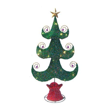 lighted sparkling green whimsical sisal christmas tree