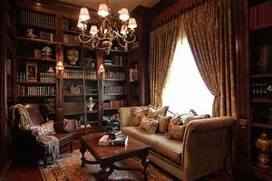 Cozy Elegant Library with Custom Bookcases - Traditional ...