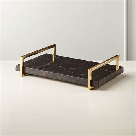 Whether you're looking to showcase trinkets, wrangle beauty products, or serve up some drinks, a gold tray is a simple and. Decorative Coffee Table Trays   CB2 in 2020   Coffee table tray, Black agate, Resin art