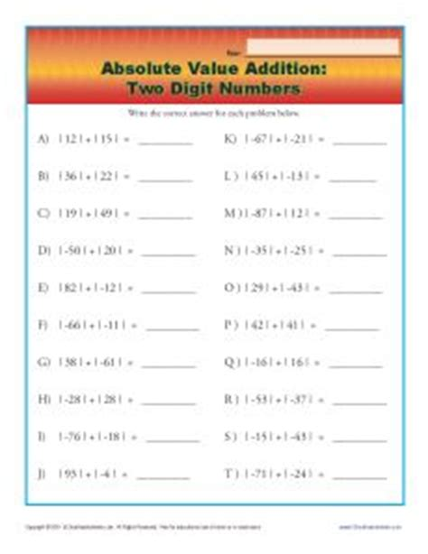 Absolute Value Addition And Subtraction Worksheets  Inequalities Worksheets2nd Hour Math Mr Tat