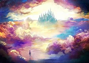 scenery-castle-clouds-water-anime-hd-background-wallpapers ...