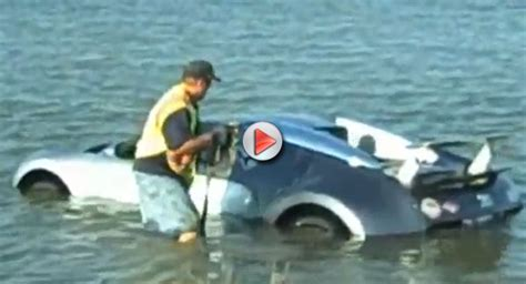 bugatti veyron takes a dip into lake