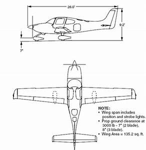 Three Side Views Of The Cirrus Sr20 Aircraft