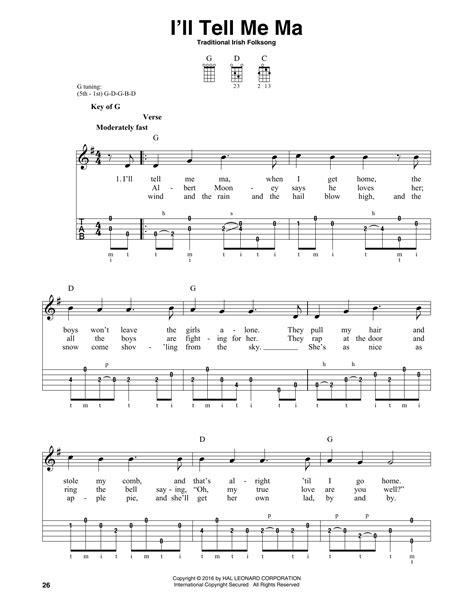 I'll Tell Me Ma Sheet Music By Traditional Irish Folk Song