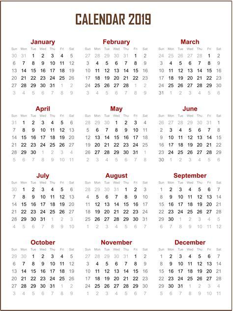 Printable 2019 One Page Calendar  Calendar 2019