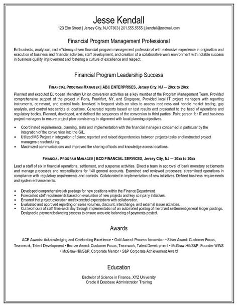 Financial Manager Resume Exle by Exle Financial Program Manager Resume Free Sle