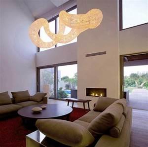 Dramatic pendant light effect living room interior