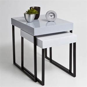 table gigogne newark lot de 2 gris la redoute With table gigogne la redoute