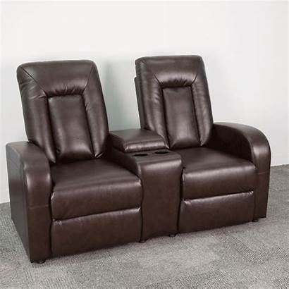 Theater Recliner Leather Brown Cup Seat Bt