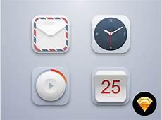 Mini Icon Set Mail, Clock, Player, Calendar Sketch