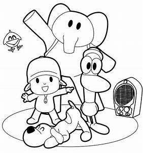 Drawing Pocoy U00f3  Pato  Elly And Loula Dancing Coloring Page