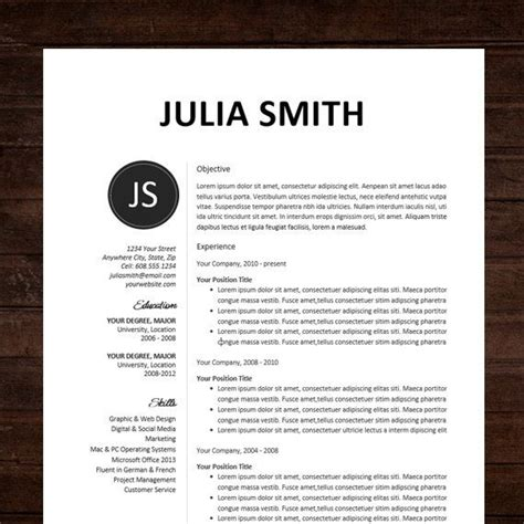 resume cv template  julia smith resume design
