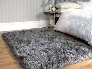 small large grey plush soft sumptuous fluffy long deep