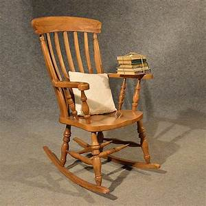 Antique, Windsor, Rocking, Chair, Large, Beech, Easy