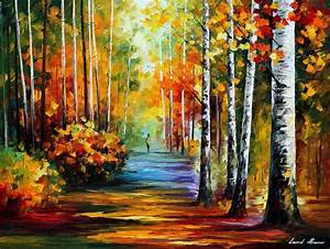FOREST ROAD — PALETTE KNIFE Oil Painting On Canvas By ...