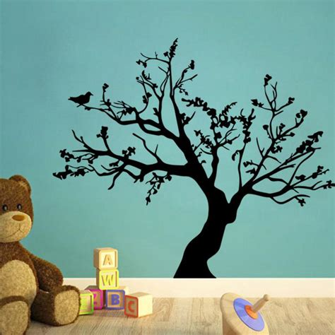 black tree wall decal  nursery removable pvc tree wall