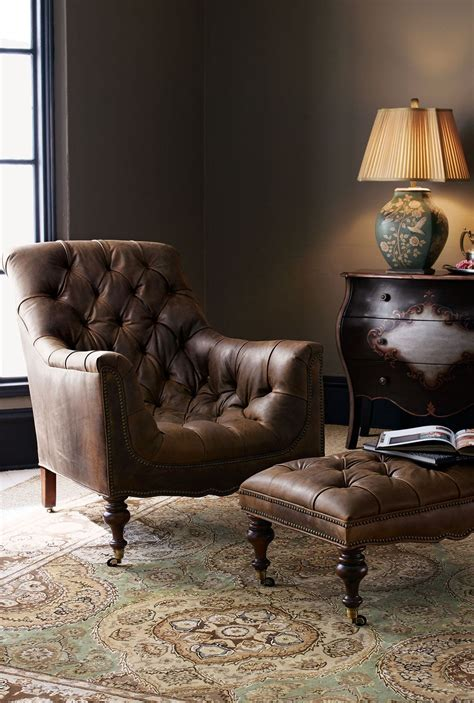 Bedroom Chairs With Ottoman by Hickory Tannery Tufted Leather Chair Ottoman Home