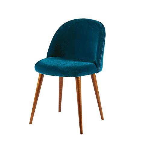 chaise metal maison du monde chaise en velours bleu canard et bouleau massif mauricette