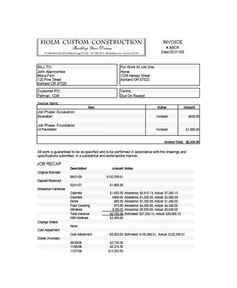 construction invoice examples samples  google