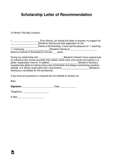 letter of recommendation template free recommendation letter for scholarship template with sles pdf word eforms free