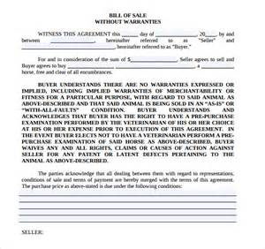 Equipment Bill of Sale Form Template