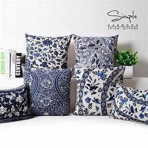 oriental floral cushion cover blue white chinese style With blue throws and cushions