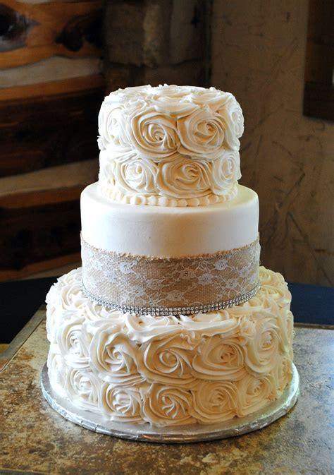 burlap  rosette wedding cake   stuff