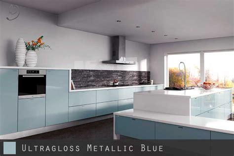 blue gloss kitchen cabinets ultra high gloss metallic blue kitchen doors 4811