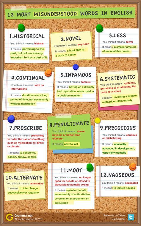 12 Most Misunderstood Words Version 2 [infographic]  Grammar Newsletter  English Grammar